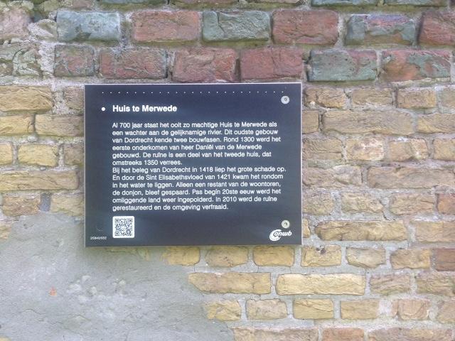 Kasteel te Merwede, infobordje op de ruïne
